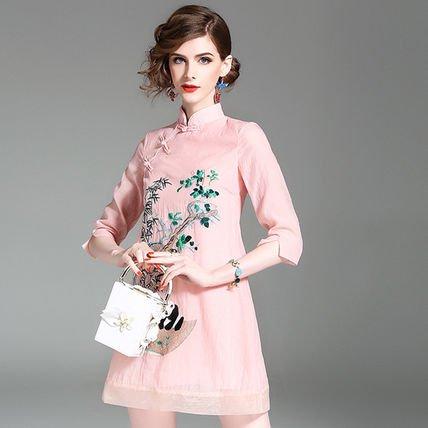 チャイナドレス風 花柄 刺繍 ショート丈 ドレス ワンピース