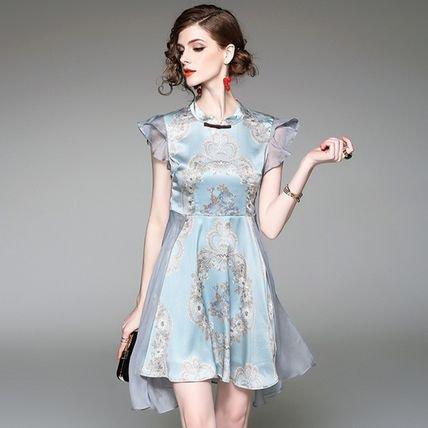 フリル プリント ノースリーブ ショート 結婚式 ドレス ワンピース