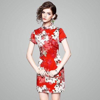チャイナドレス風 お花 プリント 半袖 ショート タイト ワンピース ドレス