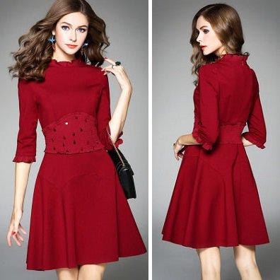 Aライン スリム 7分袖 ショート 上品 結婚式 お呼ばれ ワンピース ドレス 全2色