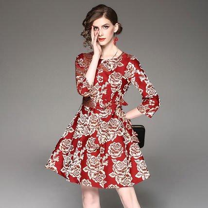 ジャカード お花 リボン 7分袖 ショート丈 結婚式 お呼ばれ ドレス ワンピース