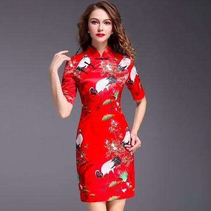 半袖 チャイナドレス風 プリント スリム タイト ショート丈 ワンピース ドレス