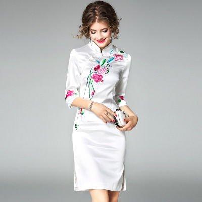 刺繍 花柄 7分袖 スリム チャイナドレス風 タイト 上品 ワンピース ドレス