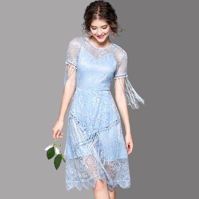 総レース タッセル 半袖 ミディアム キュート 結婚式 パーティー ドレス ワンピース