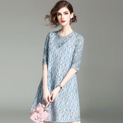レース Aライン 切替 半袖 ショート丈 エレガント 結婚式 ワンピース ドレス