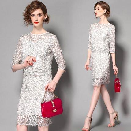 総レース 花柄 7分袖 シースルー ツーピース 結婚式 お呼ばれ ドレス ワンピース