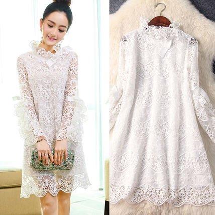 刺繍 長袖 リボン キュート ショート丈 お呼ばれ 結婚式 ワンピース ドレス
