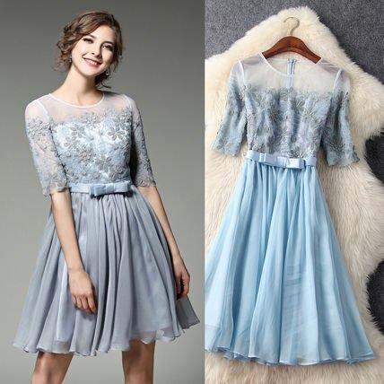 レース 切替 シースルー 刺繍 ウエストリボン 結婚式 ドレス ワンピース 全2色