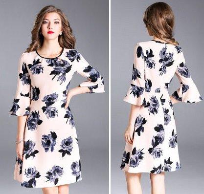 花柄 プリント フリル キュート スリム ショート丈 ワンピース ドレス 全2色