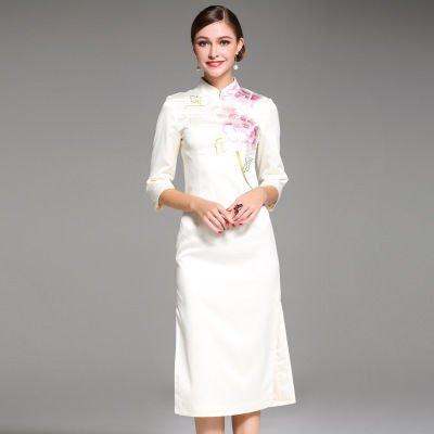 花柄 刺繍 チャイナドレス風 7分袖 上品 結婚式 ワンピース ドレス 全2色
