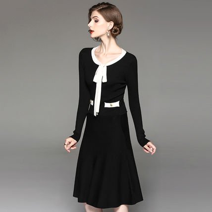 バイカラー ニット リボン スリム ミディアム 上品 エレガント ワンピース ドレス