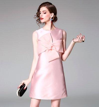 ノースリーブ リボン ショート丈 結婚式 お呼ばれ ドレス ワンピース 全2色
