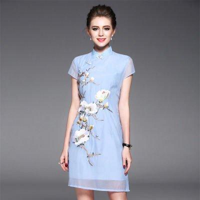 チャイナドレス風 お花 刺繍 半袖 タイト ショート丈 ワンピース ドレス 全2色