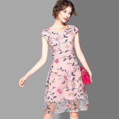 お花 刺繍 スリム 半袖 ショート丈 キュート ワンピース ドレス 全2色