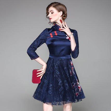 花柄 レース 切替 刺繍 7分袖 スリム ショート丈 ワンピース ドレス