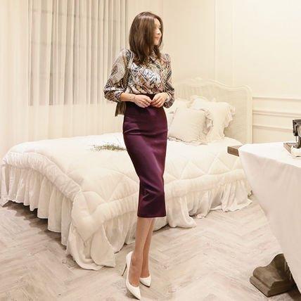 柄プリント ブラウス タイトスカート セットアップ ミディアム エレガント ドレス
