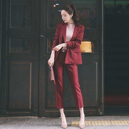 長袖 襟付き ロング クロップドパンツ セットアップ OL 通勤 ドレス 全2色