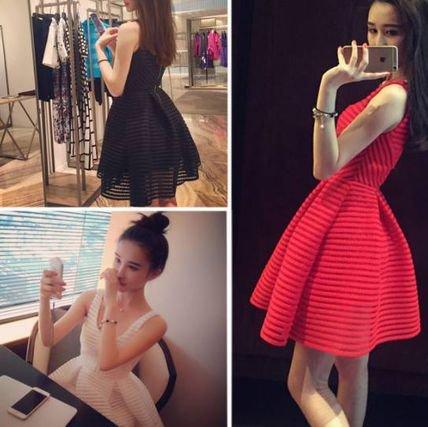 【3色】シースルー ワンピドレス かわいい ハイウエスト ショート Aライン ノースリーブ パーティー 二次会