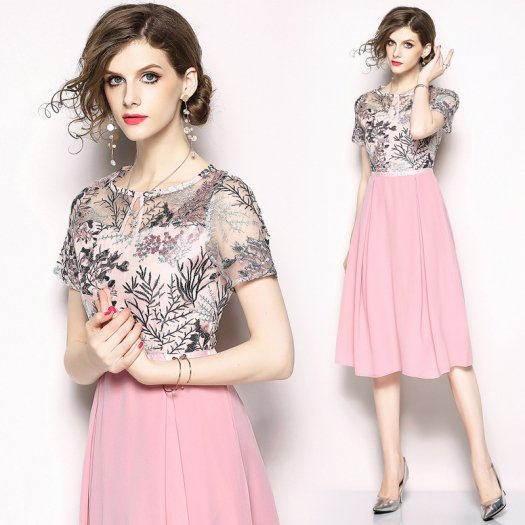 フローラル刺繍 メッシュトップ 花柄 リボン ウエストマーク ドレス ミディアム 半袖 結婚式 二次会