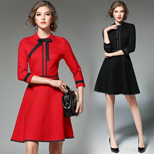 【2色】スタイリッシュ ステッチ風トリムワンピース ショート Aライン バイカラー 七分丈 お呼ばれ ドレス