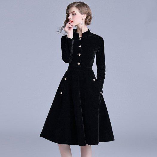スタイリッシュ 金ボタン ベロア フレア ミディアム ハイネック お呼ばれ ドレス