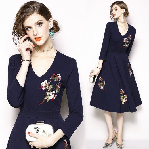 普段使いもOK フラワー刺繍ワンピース 花柄 Aライン ミディアム エレガント パーティ ドレス