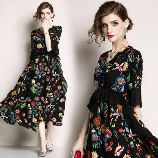 大人 ボヘミアン フラワー シフォンワンピース 花柄 フレア ロング エレガント ドレス