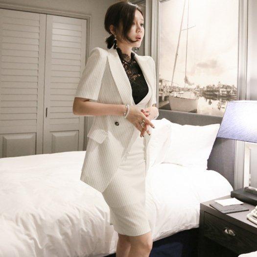 スタイリッシュ&SEXY ジャケット ワンピース セットアップ ストライプ タイト オフィス エレガント ドレス