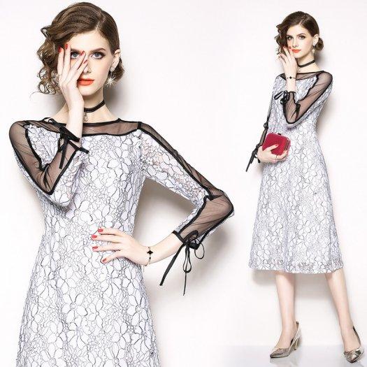 シースルースリーブ切り替え フラワーワンピース 花柄 Aライン ミモレ丈 パーティ お呼ばれ ドレス