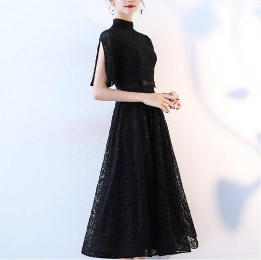 エレガント ハイネック 半袖 黒 フレア ロング ワンピース ドレス お呼ばれ 結婚式
