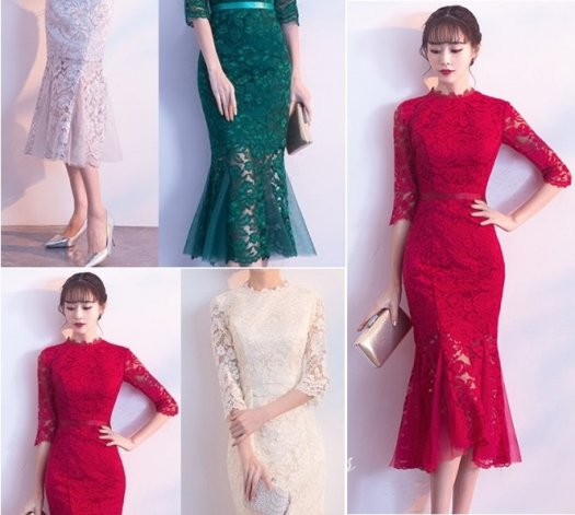 【4色】フォーマル レース 刺繍 七分袖 マーメイド ワンピース ドレス 結婚式 二次会 お呼ばれ
