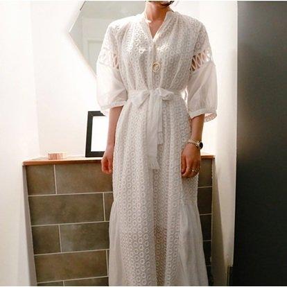 ホワイト カット レース ウエストリボン ボリューム 袖ロング ワンピース ドレス お呼ばれ
