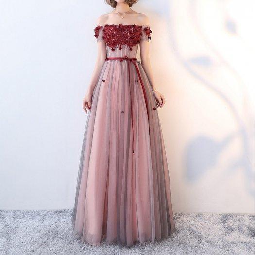 ガーリー花モチーフドレスオフショルダーロングワンピースウエストリボンドレスパーティー結婚式二次会