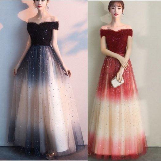 【2色】オフショル 編み上げ バイカラー Vネック マキシ ワンピース ロング ドレス お呼ばれ パーティー 結婚式