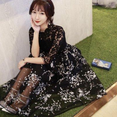 ワンピース シースルー 花柄 刺繍 ハイネック ドレス ブラック ハイウエスト 可愛い 上品 エレガント お呼ばれ drgz0588