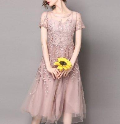 パーティードレス ミモレ丈 ワンピース 花柄刺繍 チュール 透け感 ブルー ピンク 上品 エレガント お呼ばれ drgz2585