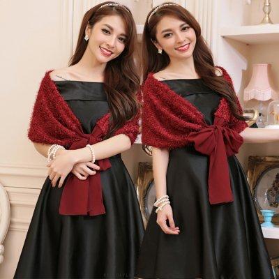 ショール リボン 可愛い ドレス用 パーティー drgz1054