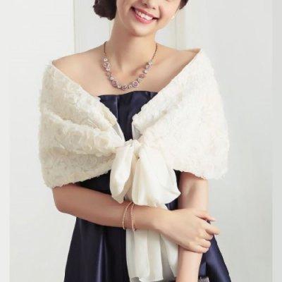 ショール リボン フラワーモチーフ ドレス用 パーティー drgz1058