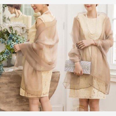 ショール シースルー 透け感 無地 ラメ シンプル ドレス用 パーティー drgz1083