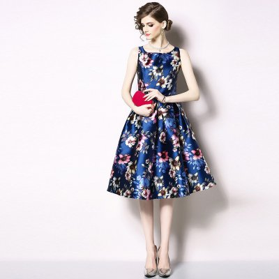 パーティードレス ひざ丈 ブルー 花柄 フレア drgz9196