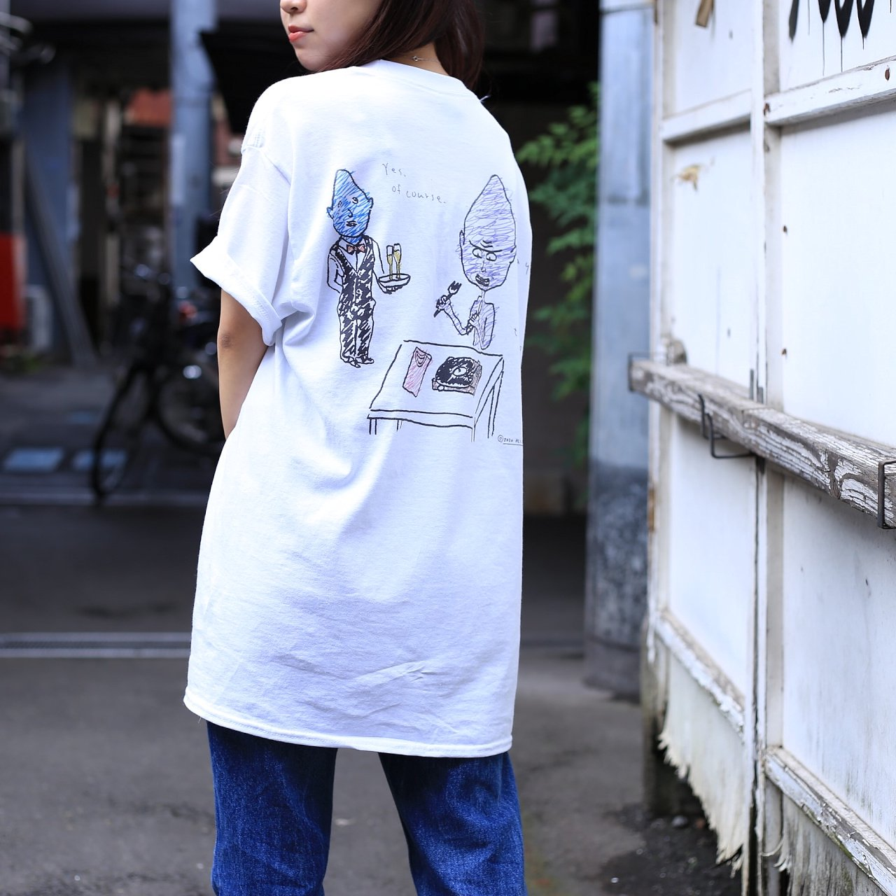"""<img class='new_mark_img1' src='https://img.shop-pro.jp/img/new/icons14.gif' style='border:none;display:inline;margin:0px;padding:0px;width:auto;' />HLC Kaoru Hashimoto×Shirube """"May I Eat This ?"""" Tシャツ"""