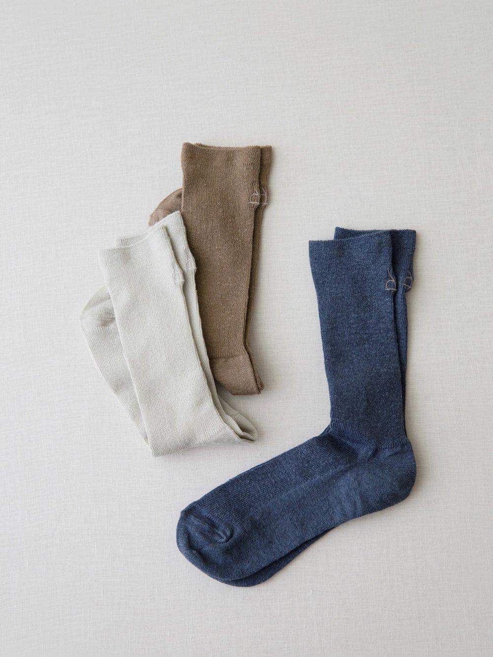 Linen Silk 刺繍入りソックス(Ladies'&Men's)