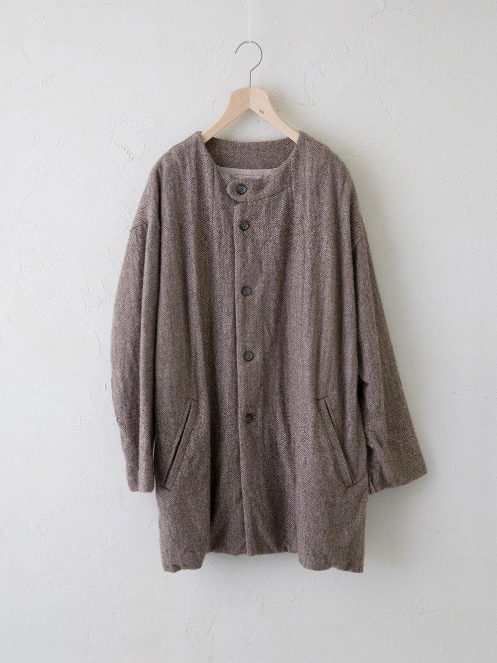 Wool Linen Herringbone ノーカラーコート