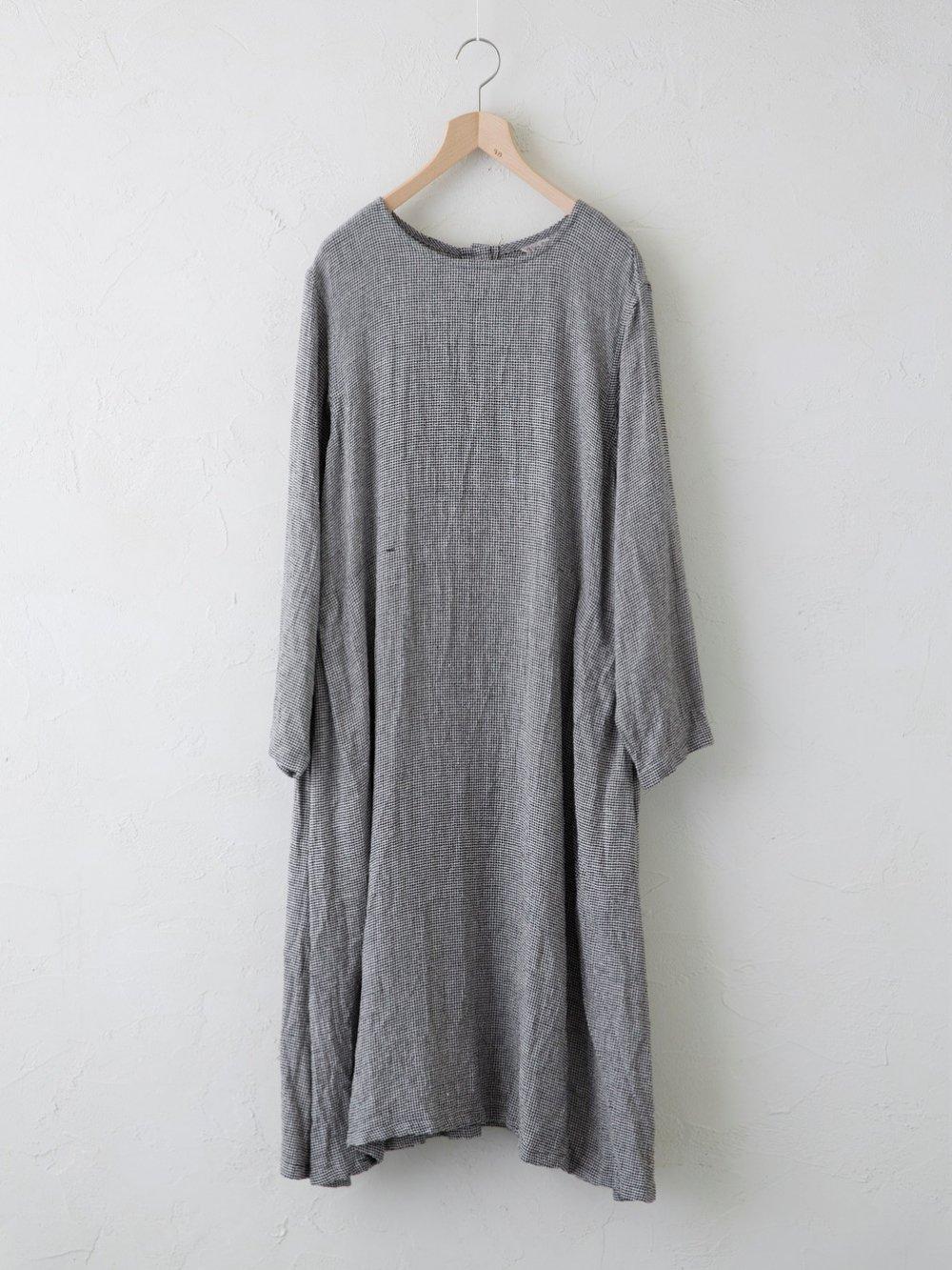 Silk Linen 千鳥 ワンピース