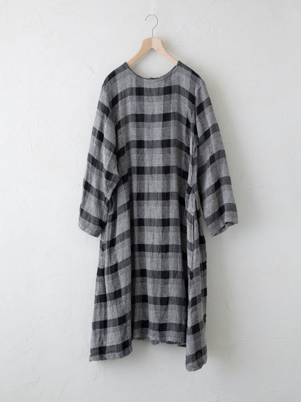 Silk Linen チェック ワンピース
