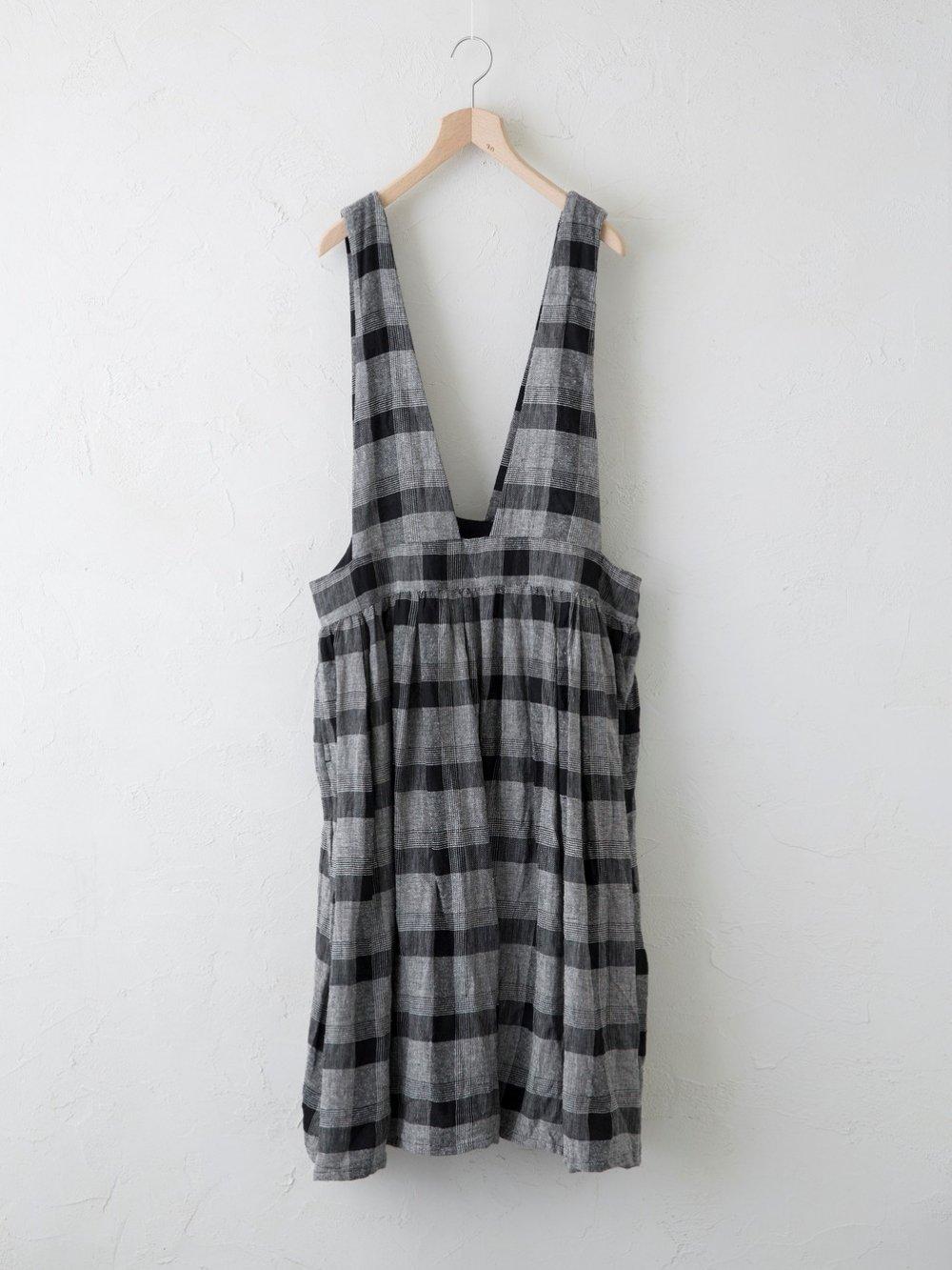 Silk Linen チェック ジャンパースカート
