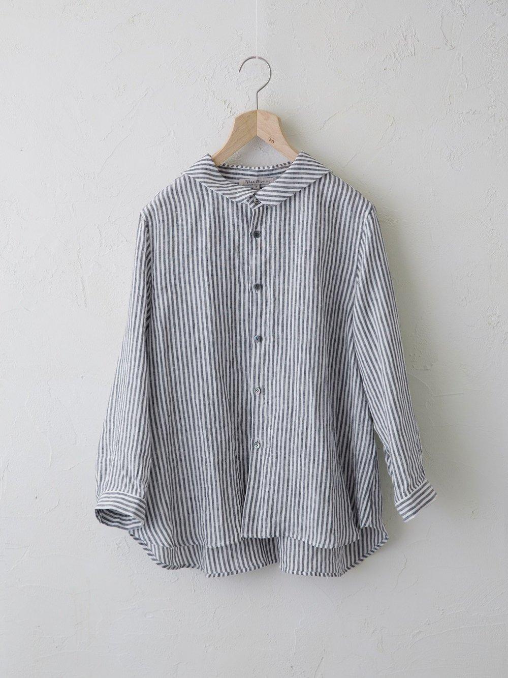 Stripe Linen セーラーカラーシャツ