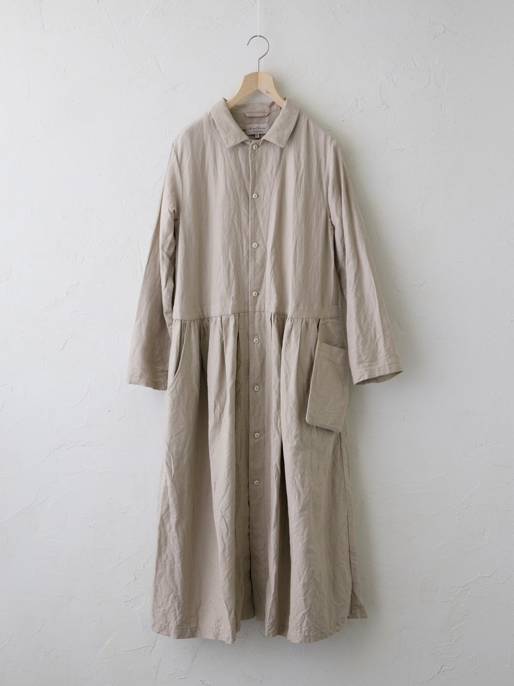 Cotton Linen ラチネ ダブルポケットコートワンピース