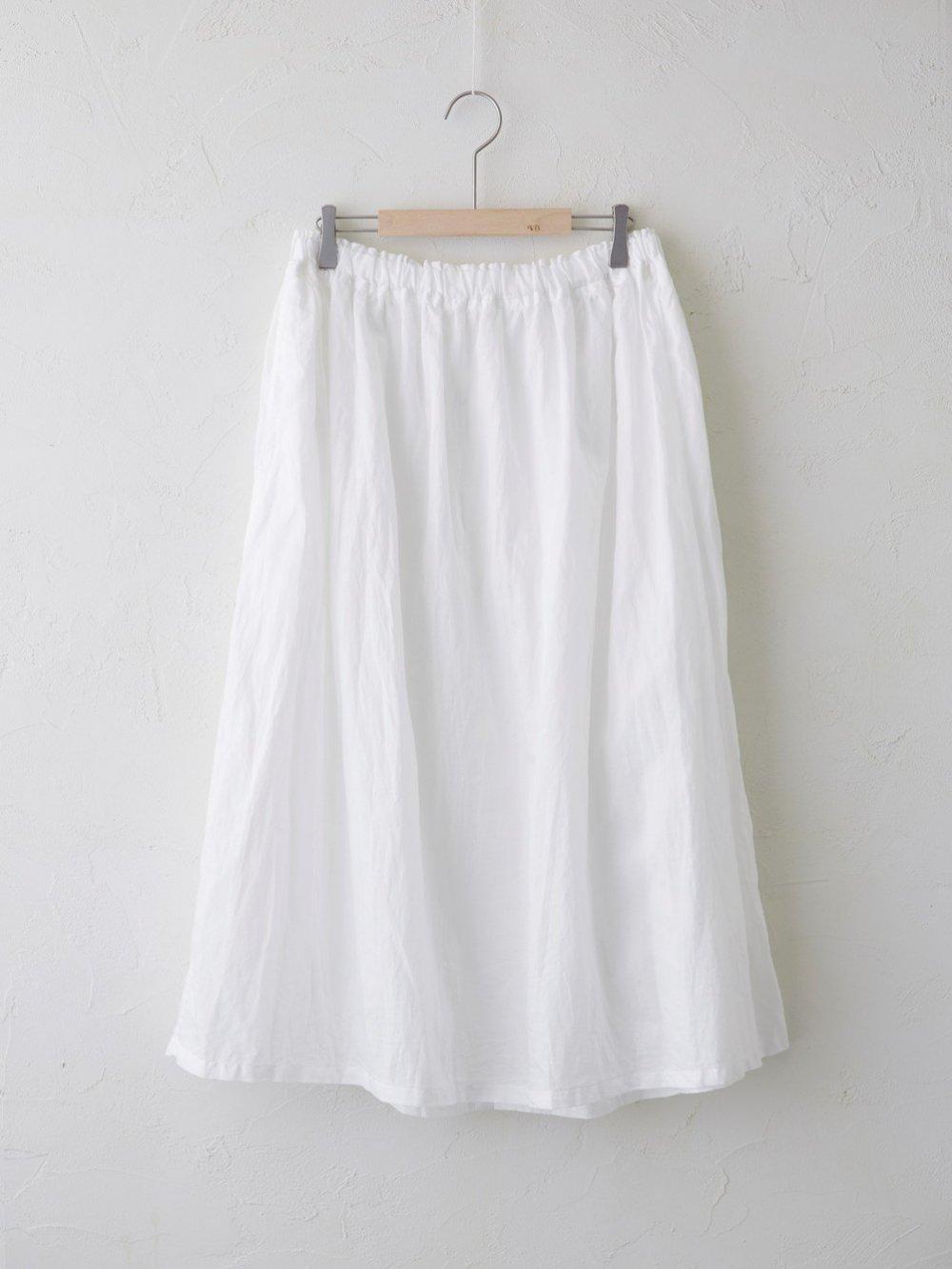 Light Cotton Ramie ボタン開きギャザースカート