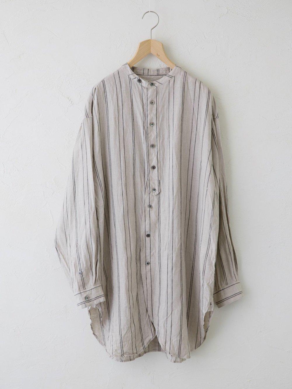 Linen Stripe チュニックシャツ(Unisex)